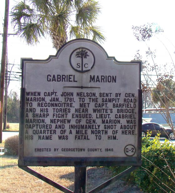 GABRIEL MARION REVOLUTIONARY WAR MEMORIAL MARKER