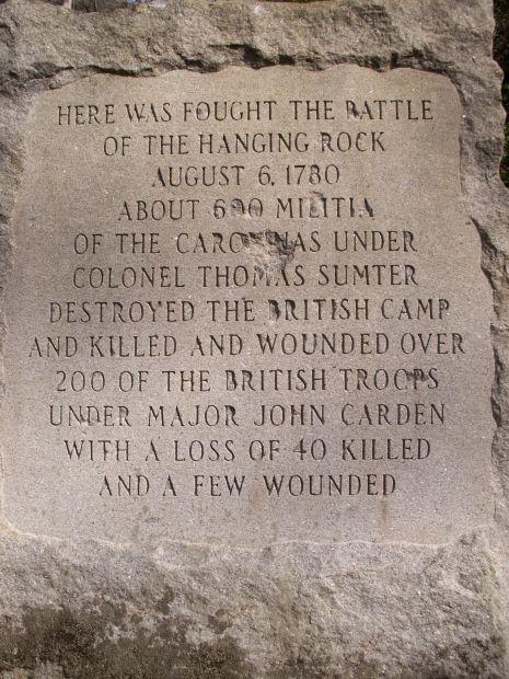 THE BATTLE OF HANGING ROCK REVOLUTIONARY WAR MEMORIAL