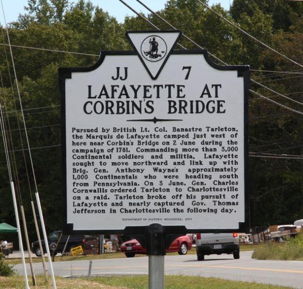 LAFAYETTE AT CORBIN'S BRIDGE MEMORIAL MARKER