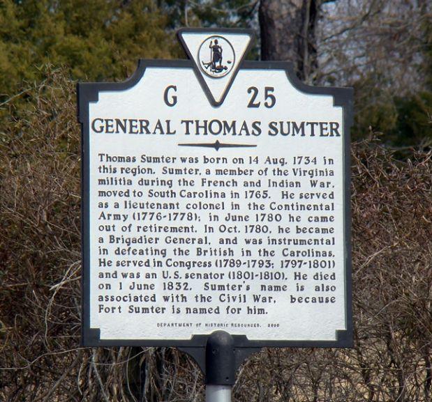 GENERAL THOMAS SUMTER REVOLUTIONARY WAR MEMORIAL MARKER