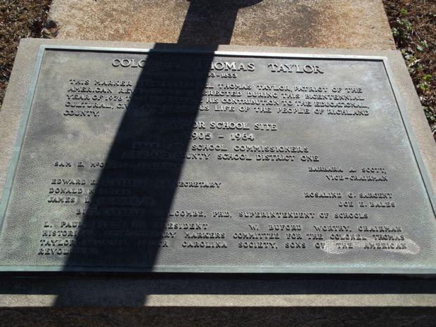 COLONEL THOMAS TAYLOR MEMORIAL PLAQUE