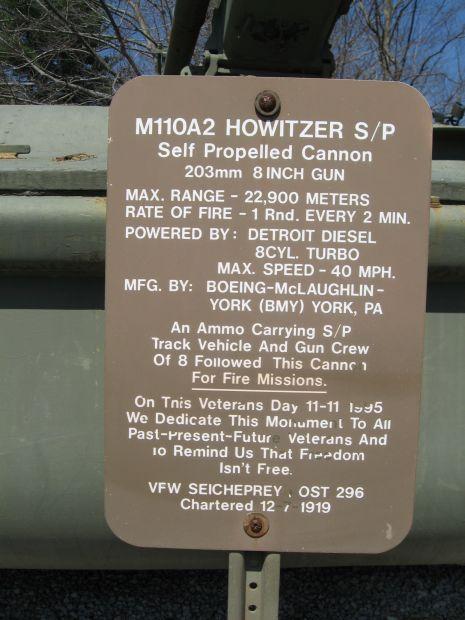 VFW POST 296 M110A2 HOWITZER S/P MEMORIAL PLAQUE