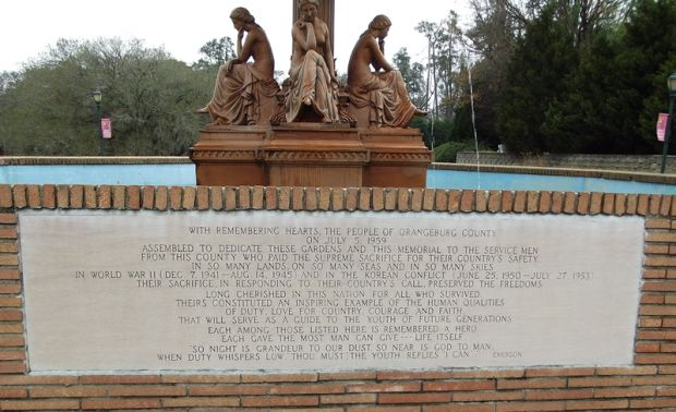 CITY OF ORANGEBURG VETERANS MEMORIAL FOUNTAIN STONE H