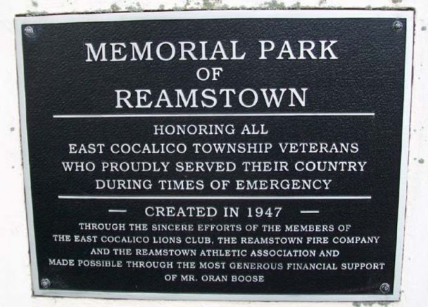 MEMORIAL PARK OF REAMSTOWN PLAQUE