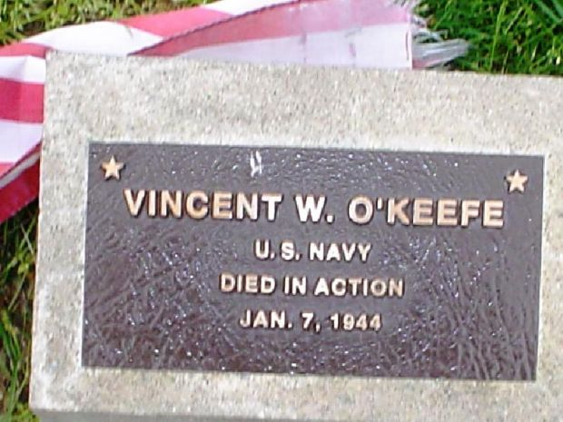 VINCENT W. O'KEEFE WAR MEMORIAL TREE PLAQUE