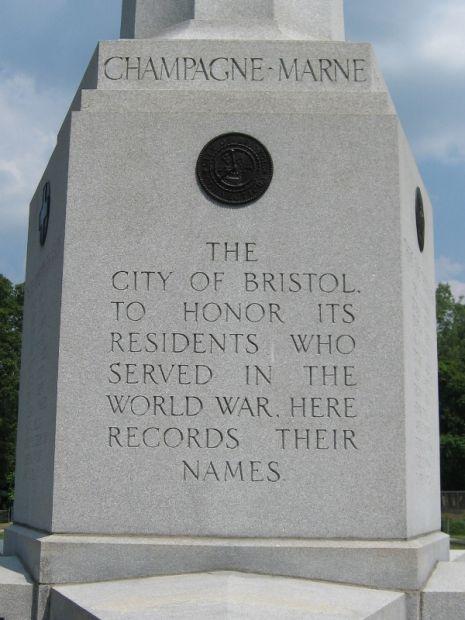 BRISTOL WORLD WAR I MEMORIAL DEDICATION STONE