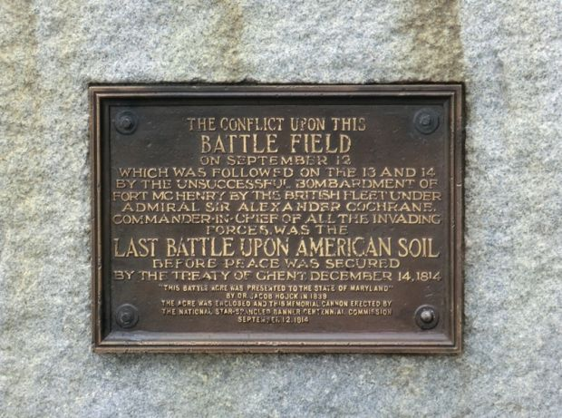 LAST BATTLE UPON AMERICAN SOIL WAR MEMORIAL CANNON PLAQUE