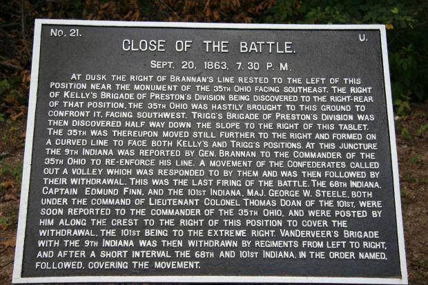 CLOSE OF THE BATTLE WAR MEMORIAL PLAQUE
