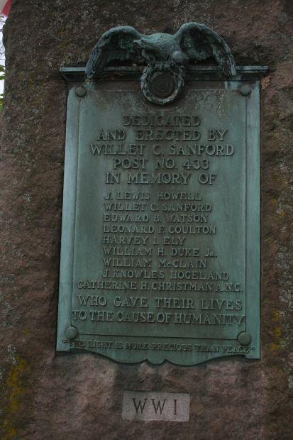 WILLET C. SANFORD POST NO. 433 WORLD WAR I MEMORIAL PLAQUE