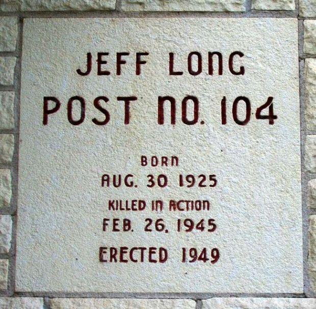 JEFF LONG POST NO. 104 WAR MEMORIAL PLAQUE