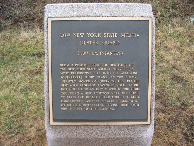 20TH NEW YORK STATE MILITIA WAR MEMORIAL PLAQUE