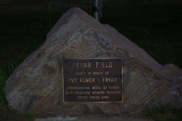 PVT. ELMER E. FRYAR MEMORIAL PLAQUE