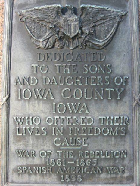IOWA COUNTY SOLDIER MEMORIAL PLAQUE