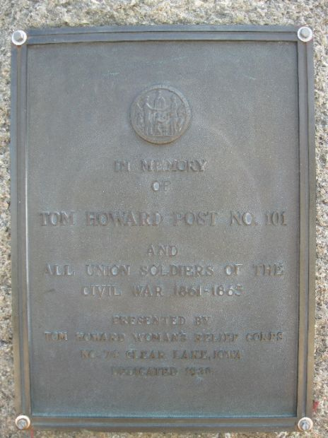 TOM HOWARD POST NO. 101 CIVIL WAR MEMORIAL PLAQUE
