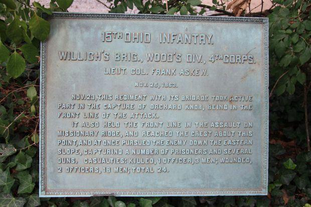 15TH OHIO INFANTRY MEMORIAL PLAQUE