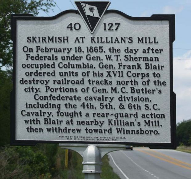 SKIRMISH AT KILLIAN'S MILL WAR MEMORIAL MARKER