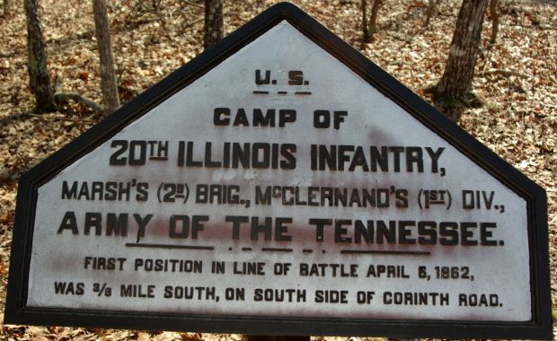 CAMP OF 20TH ILLINOIS INFANTRY MEMORIAL PLAQUE