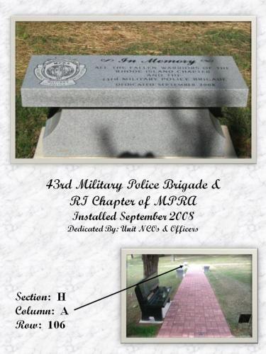 43RD MILITARY POLICE BRIGADE MEMORIAL BENCH