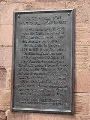 CASTLE CLINTON NATIONAL MONUMENT PLAQUE