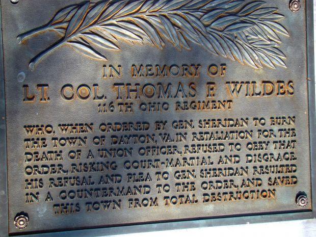 LT. COL. THOMAS F. WILDES WAR MEMORIAL PLAQUE