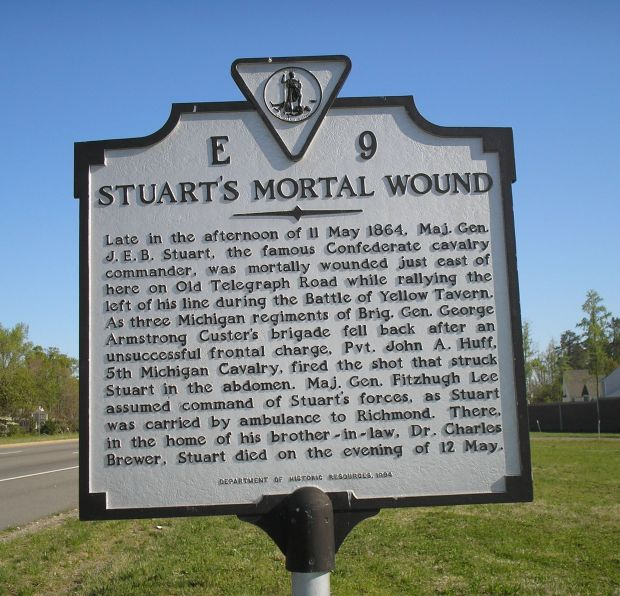 STUART'S MORTAL WOUND MEMORIAL MARKER