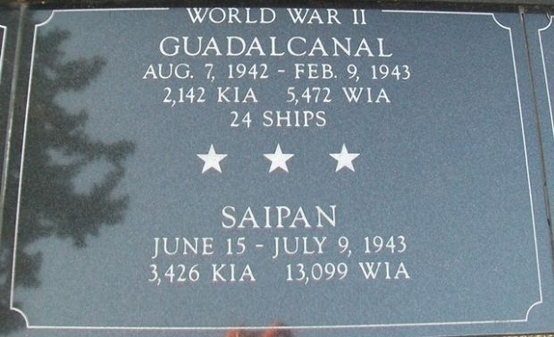 KENOSHA CITY AND COUNTY GUADALCANAL AND SAIPAN MEMORIAL PLAQUE