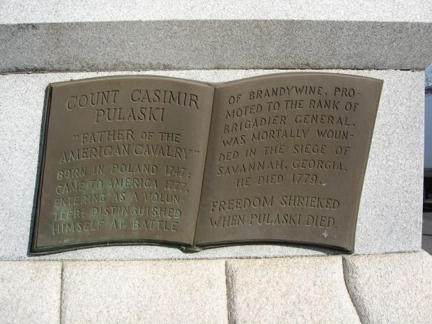 COUNT CASIMIR PULASKI WAR MEMORIAL PLAQUE