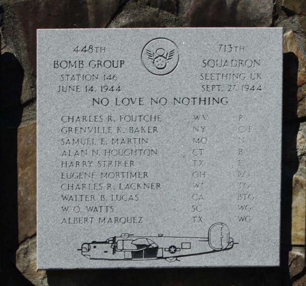 NO LOVE NO NOTHING B-24 WAR MEMORIAL PLAQUE