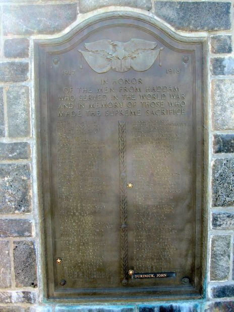 HADDAM VETERANS WAR MEMORIAL WORLD WAR I PLAQUE