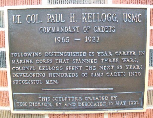 LT. COL. PAUL H. KELLOGG MEMORIAL PLAQUE