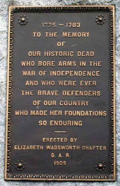 PORTLAND WAR OF INDEPENDENCE WAR MEMORIAL PLAQUE