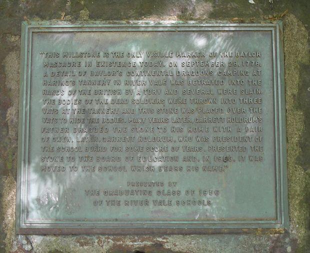 BAYLOR MASSACRE MILLSTONE WAR MEMORIAL
