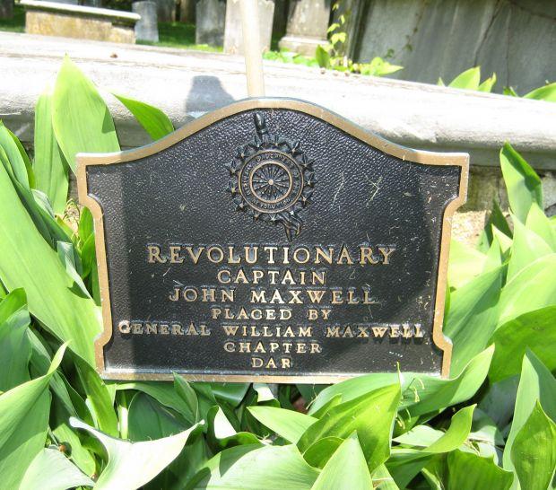 CAPTAIN JOHN MAXWELL REVOLUTIONARY WAR MEMORIAL PLAQUE