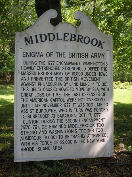 MIDDLEBROOK REVOLUTIONARY WAR MEMORIAL MARKER