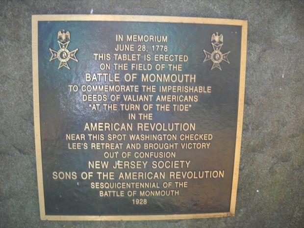 BATTLE OF MONMOUTH MEMORIAL PLAQUE